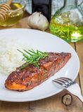 Baked salmon fillet with rice Stock Photos