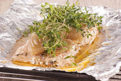 Baked salmon fillet with thyme Stock Photo