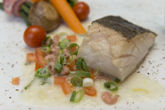 Baked salmon fillet with vegetables Royalty Free Stock Photography