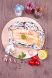 Baked salmon in a foil Royalty Free Stock Photography