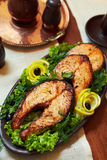 Baked Salmon With Greens Stock Images