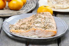 Baked salmon on grey plate Stock Image