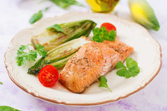 Baked salmon with Italian herbs Royalty Free Stock Images