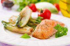 Baked salmon with Italian herbs Royalty Free Stock Photo