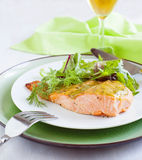 Baked salmon with mustard sauce Royalty Free Stock Images