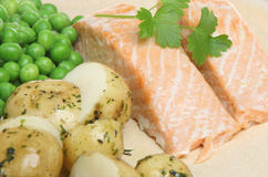 Baked Salmon with New Potatoes Royalty Free Stock Photography