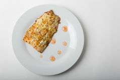 Baked salmon on a plate. A freshly baked salmon on a white plate Royalty Free Stock Photo