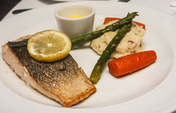 Baked Salmon with Potatoes and Asparagus royalty free stock photography