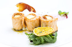 Baked salmon rolls Royalty Free Stock Photography