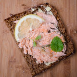 Baked Salmon sandwich Stock Images