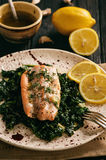 Baked salmon served on stewed spinach with lemon butter sauce. Baked salmon served on stewed spinach with lemon butter sauce Royalty Free Stock Images