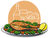 Baked salmon steak stock illustration