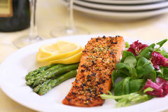 Baked salmon steak royalty free stock photography