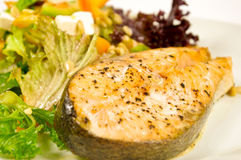 Baked salmon steak and salad Royalty Free Stock Photos