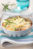 Baked salmon under cheese sauce Royalty Free Stock Photos