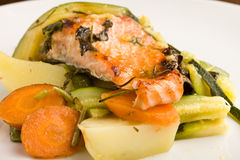 Baked Salmon with vegetables Stock Images