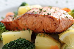 Baked salmon with vegetables Royalty Free Stock Photo