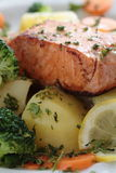 Baked salmon with vegetables Royalty Free Stock Photos