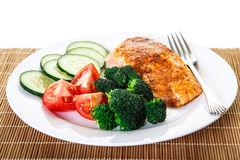 Baked Salmon with Vegetables and Fork Royalty Free Stock Images