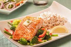 Baked salmon. With vegetables and rice Stock Image
