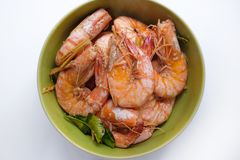 Baked salt prawn selective focus and isolate royalty free stock images