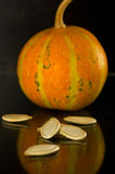 Baked and Salted Pumpkin Seeds on a background Stock Photos