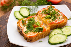 Baked sandwiches with tomato, cheese and greens and sliced vegetables Stock Image