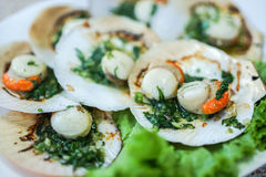 Baked scallops with butter Stock Image