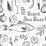 Baked Sea Bass background Stock Image