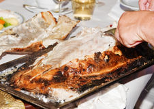 Baked Sea Bass in Pastry. A close-up of a baked sea bass in pastry Stock Image