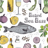 Baked Sea Bass pattern Royalty Free Stock Photography