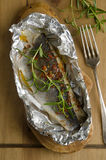 Baked sea bass Royalty Free Stock Photography