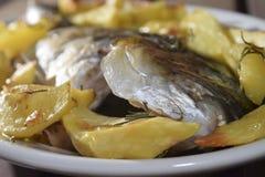 Baked sea bream with potatoes Stock Photos