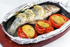 Baked seabass fish Stock Image