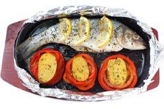 Baked seabass fish Stock Photos