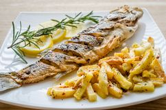 Baked seabass with fried potatoes Stock Images