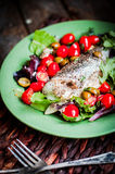Baked seabass with tomatoes and basil on rustic wooden backgroun Royalty Free Stock Photography