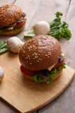 baked sesame burger, micro greens and raw vegetables ingredients stock image