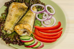 Baked shad at dish Stock Photo