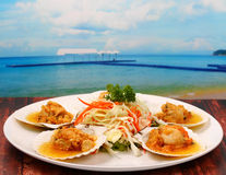 Baked shellfish. On a wood table top at the beach Stock Images