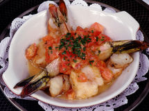 Baked Shrimp. With tomatoes Stock Photo