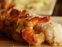 Baked shrimp with rice Royalty Free Stock Image