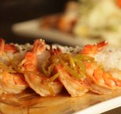 Baked shrimp with rice Royalty Free Stock Photos