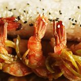 Baked shrimp with rice Stock Photo