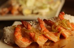 Baked shrimp with rice Royalty Free Stock Images
