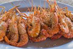Baked Shrimp. Served on a plate,Thailand Royalty Free Stock Photos