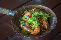 Baked shrimps with glass noodles, authentic Thai cuisine Royalty Free Stock Photography