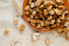 Baked slices of white bread, homemade rusks Stock Images