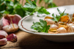Baked snails with garlic butter and parsley Royalty Free Stock Photo