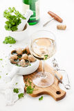 Baked snails and wine Royalty Free Stock Photo